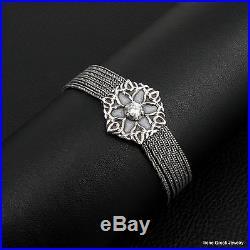 Cubic Zirconia Flower 925 Sterling Silver Greek Handmade Chain Bracelet