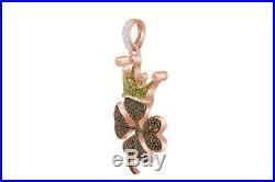 Cubic Zirconia Flower Hip Hop Pendant 14K Rose Gold Over 925 Sterling Silver