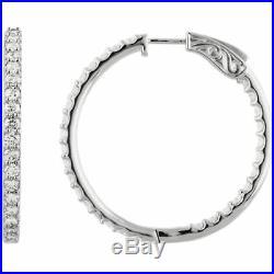 Cubic Zirconia Inside/Outside Hoop Earrings Sterling Silver NEW EARRINGS