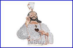 Cubic Zirconia Jesus Face Hip Hop Pendant 14K Rose Gold Over Sterling Silver