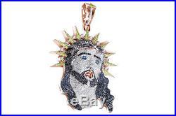 Cubic Zirconia Jesus Hip Hop Pendant 14K Rose Gold Over 925 Sterling Silver