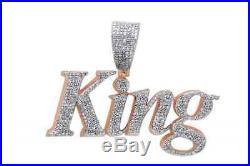 Cubic Zirconia KING Hip Hop Pendant 14K Rose Gold Over 925 Sterling Silver