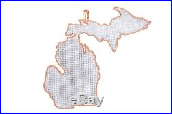 Cubic Zirconia Michigan Map Hip Hop Pendant 14K Rose Gold Over Sterling Silver