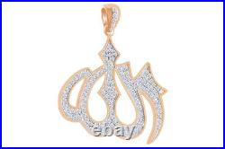 Cubic Zirconia Muslim Allah Hip Hop Pendant 14K Rose Gold Over Sterling Silver