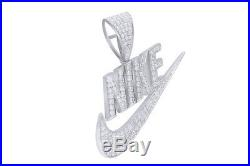 Cubic Zirconia NIKE Hip Hop Pendant 14K White Gold Over 925 Sterling Silver