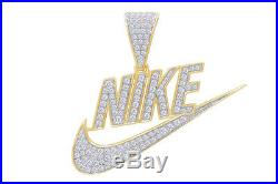 Cubic Zirconia NIKE Hip Hop Pendant 14K Yellow Gold Over 925 Sterling Silver