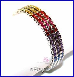 Cubic Zirconia Rainbow Cz 925 Sterling Silver Gods Promise Triple Row Bracelet
