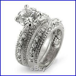 Cubic Zirconia Round Bridal Set Wedding Engagement Ring Sterling 925 Silver Sz 8