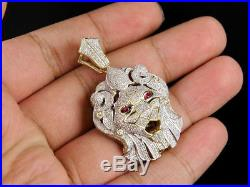 Cubic Zirconia Sterling Silver Iced 3D Lion Head Custom Pendant Charm 1 Ct 1.9