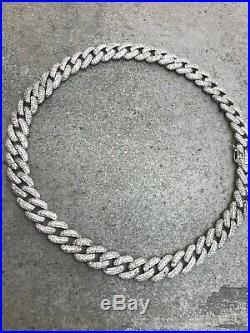 Curb Chain Choker, Chunky Cuban Chain Choker, Cubic Zirconia 925 Solid Silver