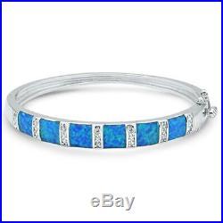 Cushion Cut Blue Opal 7 Round Cubic Zirconia. 925 Sterling Silver Bracelet