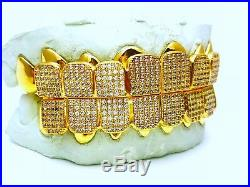 Custom fit 925 Sterling Silver Iced out Cubic CZ Micro Pave Block Grillz