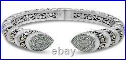 DEVATA Bali Filigree Silver 925 Bracelet 18KGold Cubic Zirconia DVK6555CZ Sz M/L