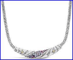 DEVATA Bali Sterling Silver 18K Gold Necklace Purple Cubic Zirconia DVT9553AM