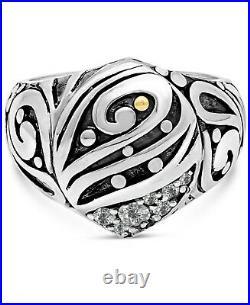 DEVATA Bali Sterling Silver 925 Ring 18K Gold Cubic Zirconia DVM9591CZ Sz 6-9