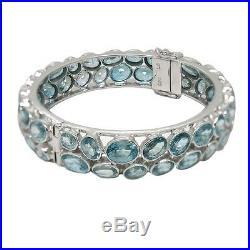 De Buman 2-Row Blue Cubic Zircon Sterling Silver Elegant Bangle Bracelet, 8.5'