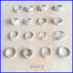 Designer Cubic Zirconia 925 Sterling Silver Rings Jewelry Lot