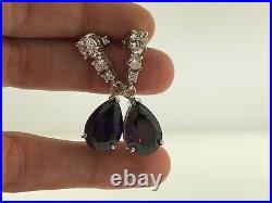 Designer Sterling Silver 925 Purple White Cubic Zirconia Statement Drop Earrings