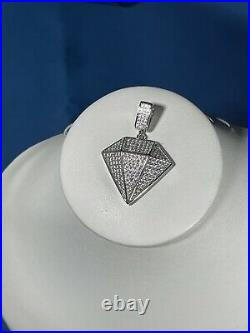 Diamnd Style 925 Sterling Silver Pendant Cubic Zirconia Stones Iced Out White