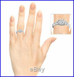 Diamond Engagement Ring in Silver or Gold Sizes 3 to 15 in 1/4 Size Intervals