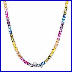Diamoness Rainbow Cubic Zirconia Tennis Necklace in Sterling Silver