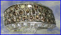 Diamonique Chocalote Cubic Zircona STERLING SILVER 0.925 Estate Ring size 8 or Q