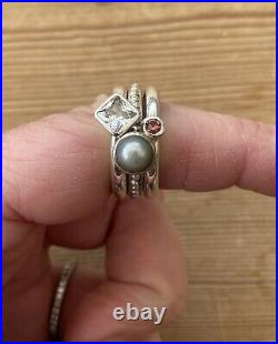 Dower And Hall Twinkle 3 Ring Stack Pearl Cubic Zirconia Pink Tourmaline