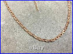 Drawn Chain Thick Necklace 925 Silver Cubic Zirconia Gemstone Rose Gold Filled