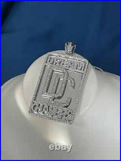 Dream Chasers 925 Sterling Silver Pendant Cubic Zirconia Stones Iced Out White