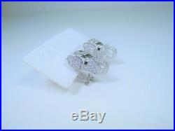 ELEPHANT EARRINGS White & Emerald color Cubic Zirconia 925 STERLING SILVER