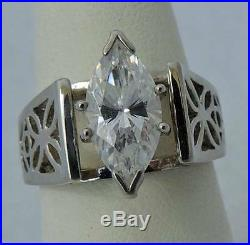 EXCEPTIONAL DIAMONIQUE Sterling Silver Estate MARQUISE CUBIC ZIRCONIA RING sz 6