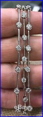 Elegant FAS Sterling Silver 925 Cubic Zirconia Three Strand Tennis Bracelet