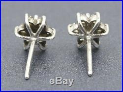 Emerald & Cubic Zirconia CZ Sterling Silver Ladies Stud Earrings Pierced Ears