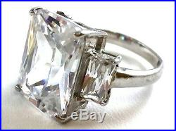 Emerald Cut Crystal Cubic Zirconia Size 8.5 Statement Ring. 925 Silver CZ