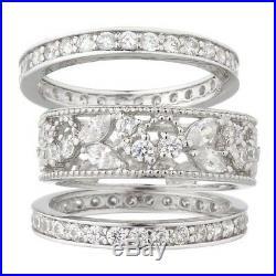 Epiphany Platinum Diamonique Cubic Zirconia Lace Design 3 Pc Ring Sz 7