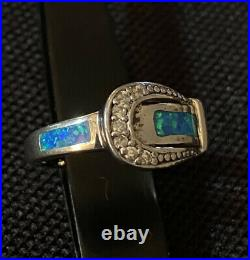 Estate Sterling Silver Opal Inlay Cubic Zirconia Buckle Design Band Ring Size 6
