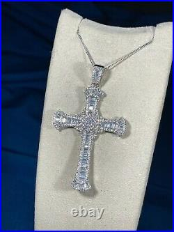 Exclusive Baguette Cross 925 Sterling Silver Necklace Iced Out Cubic Zirconia