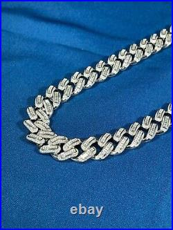 Exclusive Baguette Cuban Style 925 Sterling Silver Chain Iced Out Blingy Cubics