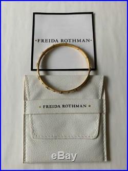 FRIEDA ROTHMAN 14K Gold Vermeil Handset Cubic Zirconia Bangle Bracelet $295 Dbag