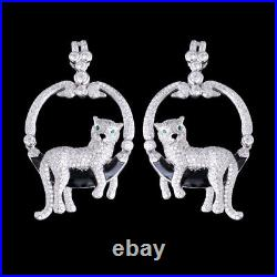 Fancy Huge Design++ Cubic Zirconia Tiger Black Enamel Design Silver 925 Earring