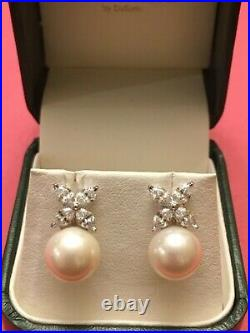 Fantasia by DeSerio Pearl Cubic Zirconia Sterling Silver Marquise Earrings Saks