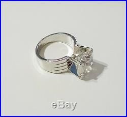 Fashion Charms 4 ct solid Cubic Zirconia In Sterling Silver Ring