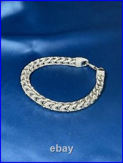 Franco Style Iced 925 Sterling Silver Bracelet Gents with Cubic Zirconia Stones
