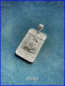 Geechi Revenue 925 Sterling Silver Pendant Cubic Zirconia Stones Iced Out White