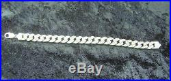 Gents 925 Sterling Silver Cuban Style Bracelet Inset Cubic Zirconia Stones 42gms