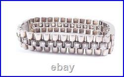 Gents Silver Cubic Zirconia Watch Link Bracelet 925 Sterling Heavy 64grams