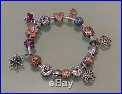 Genuine Boxed Pandora Bangle/Bracelet and 17 Cubic Zirconia/Diamante Charms