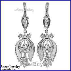 Genuine Cubic Zirconia Russian Style Dangling Earrings in 925 Sterling Silver
