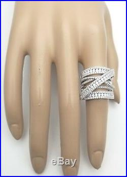 Genuine Real 925 Sterling Silver Strong Pave Cubic Cocktail Heavy Wide Band Ring