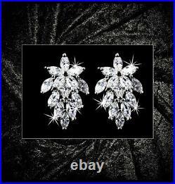 Genuine Sterling Silver 925 Stud Earrings Cubic Zirconia Silver/Gold Leaf Bunch